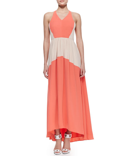 Tibi Matte Colorblock Long Dress
