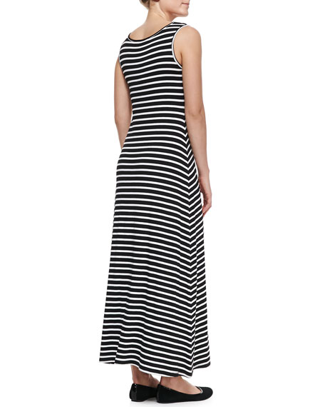 Striped Tank Maxi Dress, Black/White