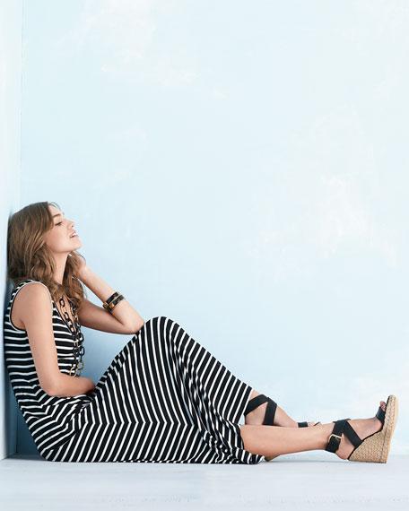 Striped Tank Maxi Dress, Black/White