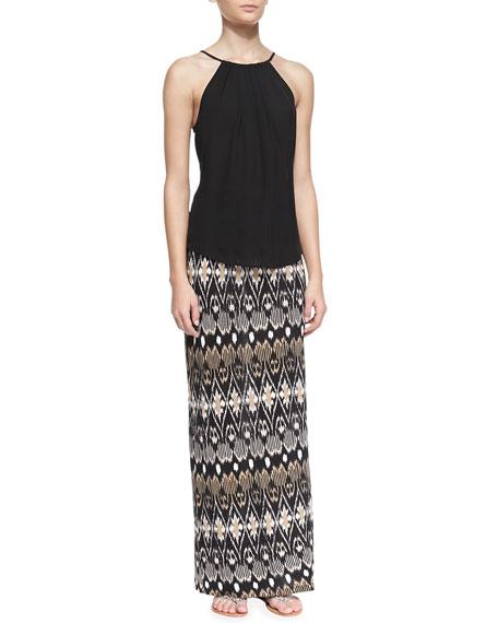 Loni Ikat-Print Maxi Skirt