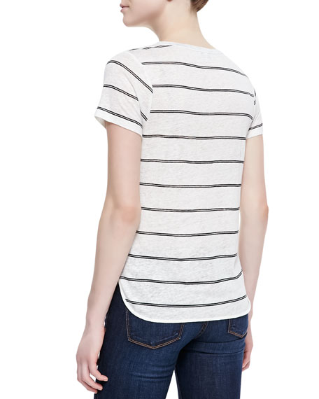 Petrella Linen Stripe Top