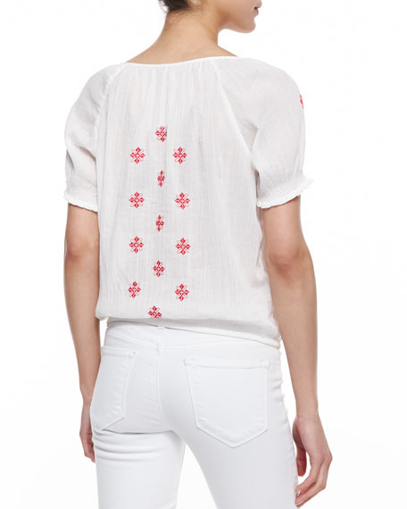 Dolina Embroidered Short-Sleeve Top