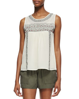 Joie Noristelle Silk Embroidered Tank Top