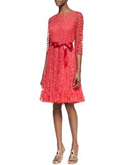 Rickie Freeman for Teri Jon 3/4-Sleeve Lace Overlay Cocktail Dress, Watermelon
