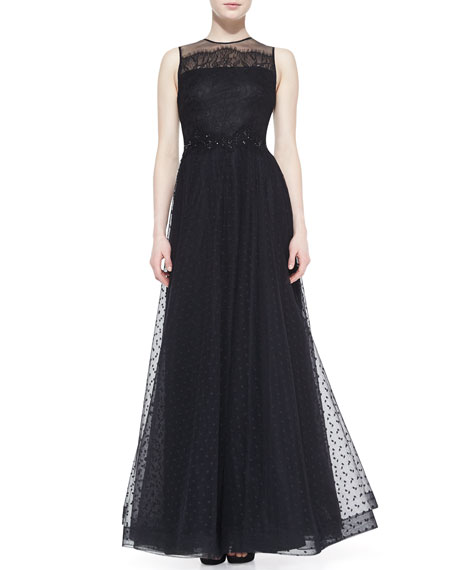 Sleeveless Illusion-Neck Gown, Black