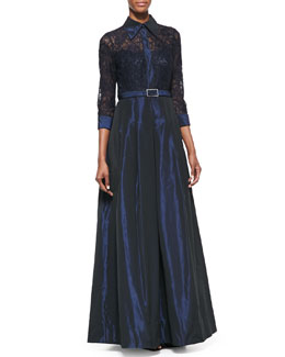 Rickie Freeman for Teri Jon Lace-Sleeve Belted Gown