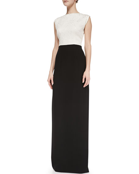 Sloane Floral Top Contrast Gown, Ivory/Black