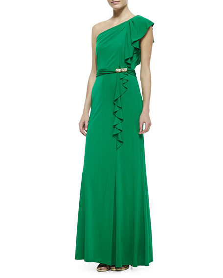 One-Shoulder Ruffle Jersey Gown, Green