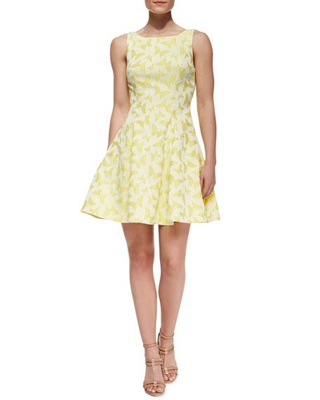 Veronica Cutout Back Butterfly-Print Cocktail Dress