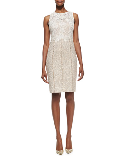 Kay Unger New York Lace Bodice Tweed Skirt Cocktail Dress