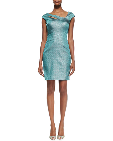 Cap-Sleeve Peekaboo Cocktail Dress, Turquoise