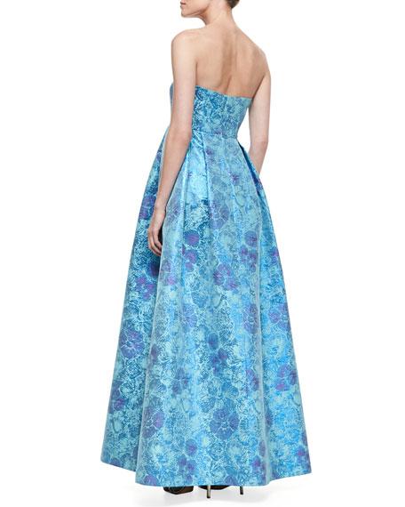 Strapless Floral-Print Jacquard Gown, Blue Multi