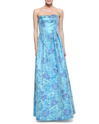 Kay Unger New York Strapless Floral-Print Jacquard Gown, Blue Multi