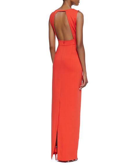 Plunging V-Neck Crepe Gown