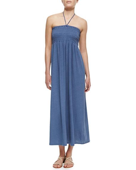 Acadia Smocked Linen-Blend Halter Maxi Dress, Vintage Indigo