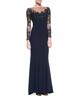 ML Monique Lhuillier Embroidered-Sleeve & Bodice Gown, Navy