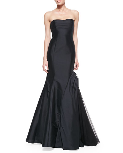 ML Monique Lhuillier Strapless Trumpet Gown with Side Tulle Inset