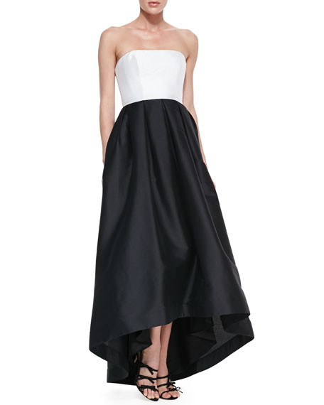 Strapless Box-Pleated High-Low Gown