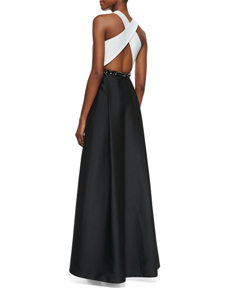 Sleeveless Beaded-Waist Gown