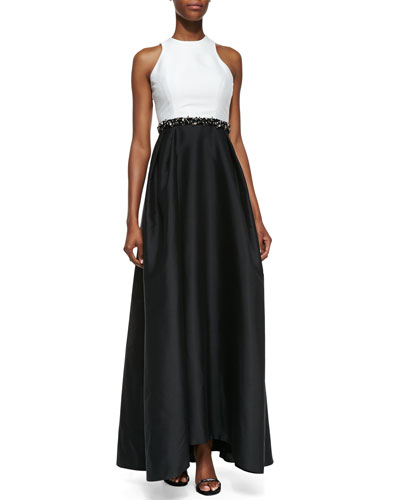 ML Monique Lhuillier Sleeveless Beaded-Waist Gown