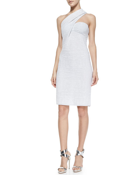 One-Shoulder Metallic Sheath Dress, White