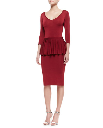 ZAC Zac Posen Wanda 3/4-Sleeve Peplum Dress