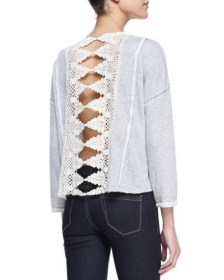 Victorian Lace-Back Pullover, Heather Gray