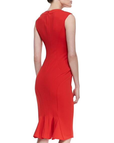 Abbey Sleeveless Curved Seam Dress, Cardinal