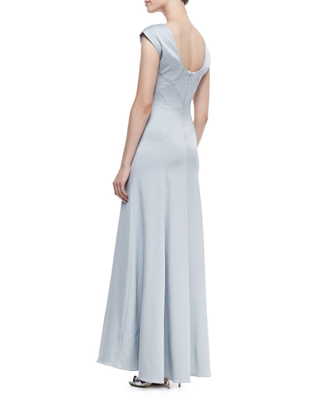 Margot Bead-Neck Gathered Gown