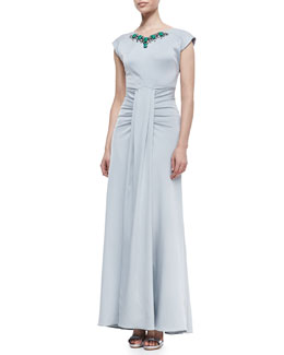 ZAC Zac Posen Margot Bead-Neck Gathered Gown