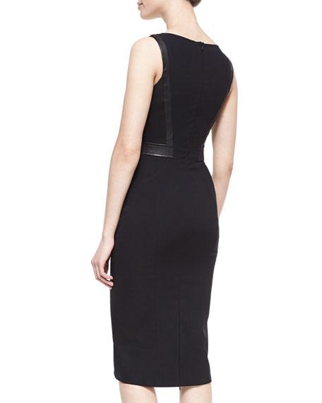 Marialena Leather-Trim Cocktail Dress
