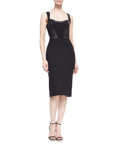 ZAC Zac Posen Marialena Leather-Trim Cocktail Dress