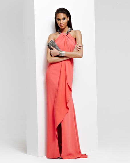 Beaded Halter Draped-Front Gown