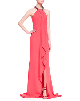 Carmen Marc Valvo Beaded Halter Draped-Front Gown
