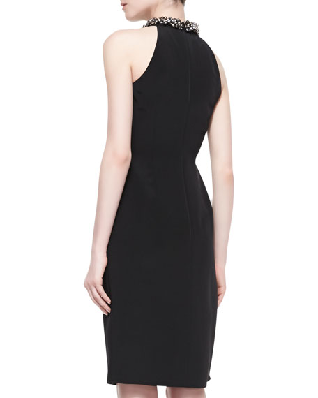 Beaded-Neck Halter Cocktail Dress, Black