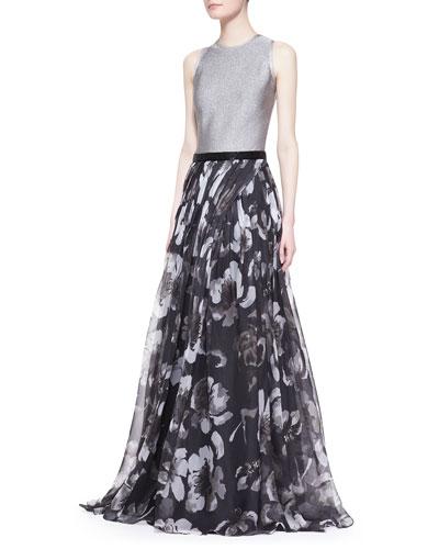 Carmen Marc Valvo Sleeveless Mixed-Media Floral Gown