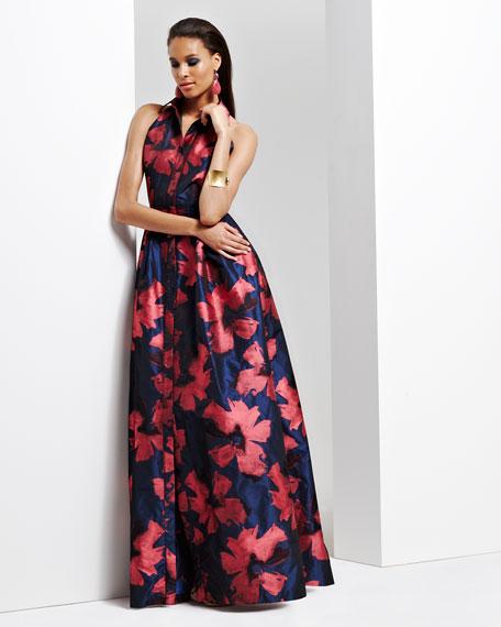 Sleeveless Snap-Down Floral Shirtwaist Gown