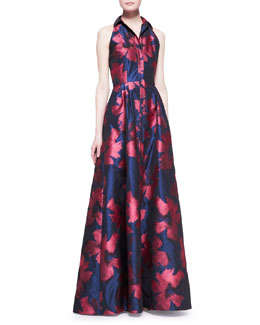 Carmen Marc Valvo Sleeveless Snap-Down Floral Shirtwaist Gown