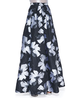 Carmen Marc Valvo Pleated Floral-Print Ball Skirt