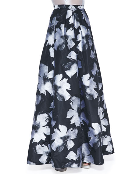 Pleated Floral-Print Ball Skirt