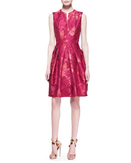 Carmen Marc Valvo Sleeveless Caftan-Neck Floral Cocktail Dress