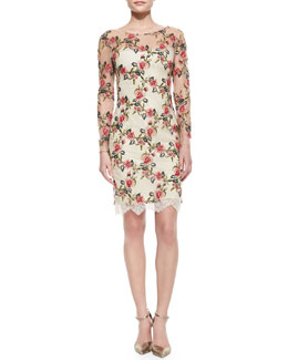 Notte by Marchesa Long-Sleeve Floral Embroidered Overlay Cocktail Dress