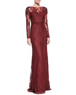Notte by Marchesa Long-Sleeve Lace Overlay Beaded-Shoulder Gown