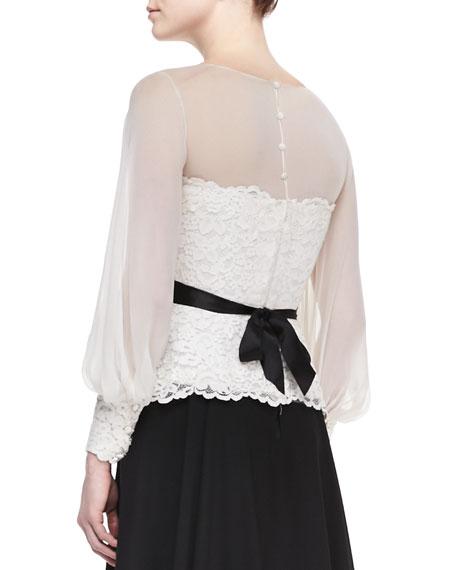 Long-Sleeve Lace & Georgette Top