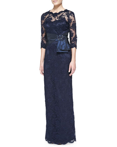 Rickie Freeman for Teri Jon 3/4-Sleeve Lace Overlay Gown, Navy