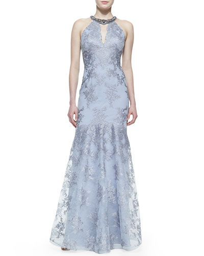 Rickie Freeman for Teri Jon Beaded-Neck Lace Halter Gown