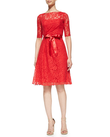3/4-Sleeve Lace-Overlay Cocktail Dress