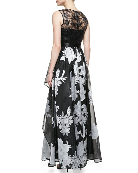 Sleeveless Beaded-Bodice Gown with Floral Skirt