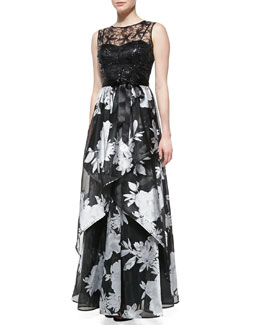 Rickie Freeman for Teri Jon Sleeveless Beaded-Bodice Gown with Floral Skirt