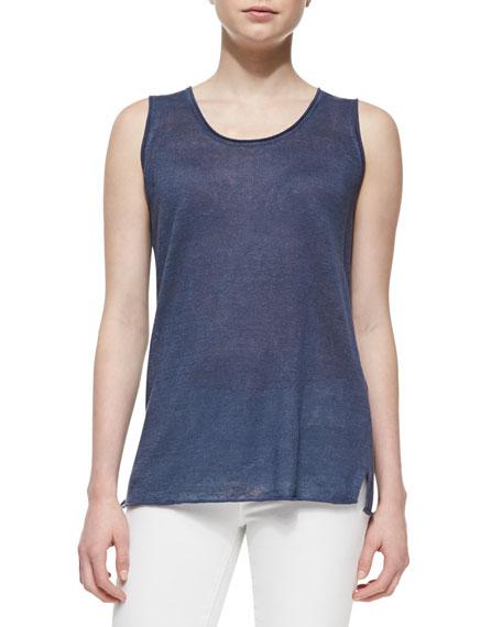 Linen Drop-Stitch Cardigan Sweater & Tank Twinset
